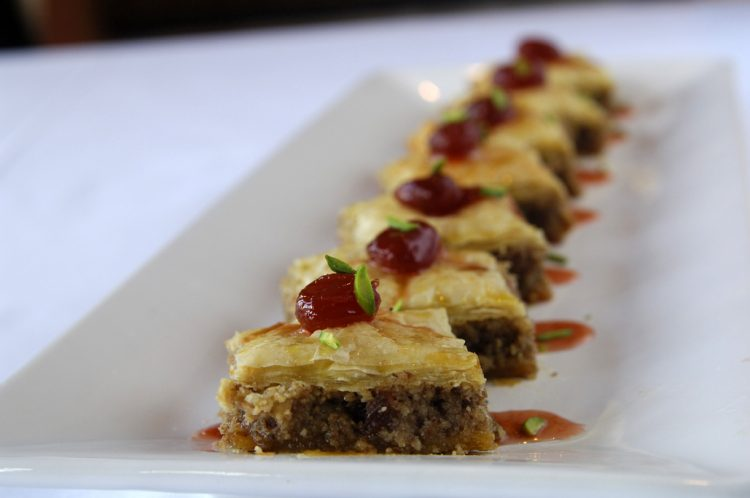 Baklava with homemade grape jam